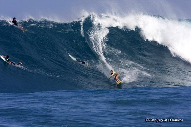 Jamilah riding a really big wave in 2009